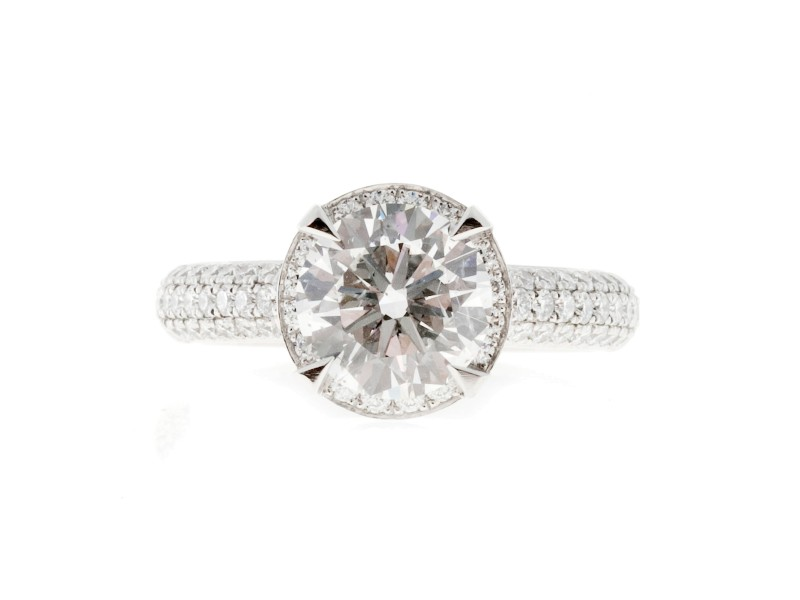 Platinum Engagement Halo Diamond Ring Size 6.75