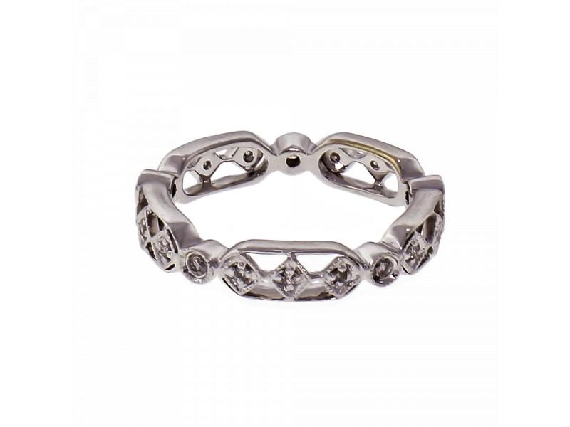 .15ct Diamond 14k White Gold Wedding Band Ring