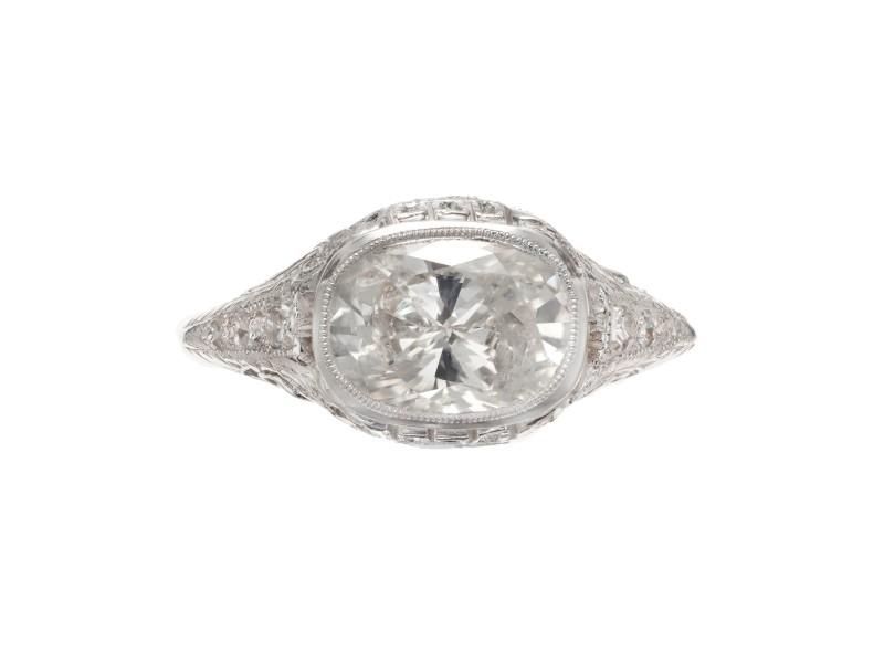 EGL Certified 1.52 Carat Oval Diamond Art Deco Filigree Platinum Engagement Ring