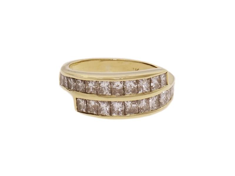 Estate Princess Cut Diamond Band Ring 1.40cts 14k Yellow Gold