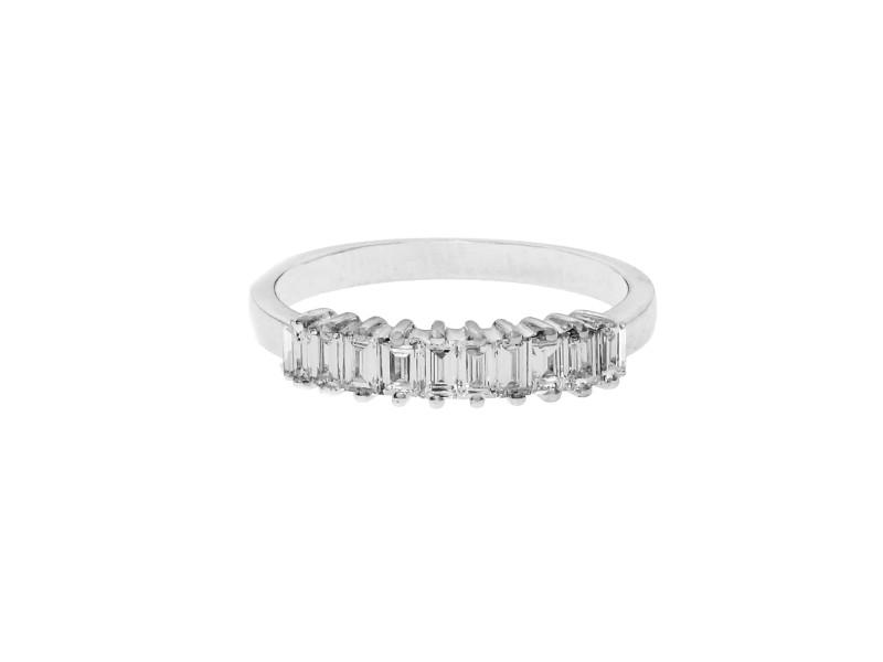 Estate Emerald Cut 10 Diamond Band .60ct 18k White Gold