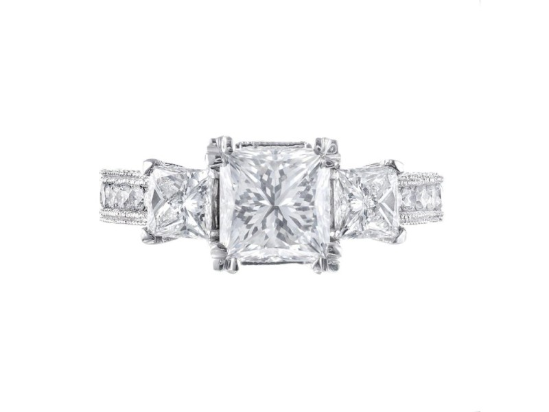 GIA Certified 2.56 Carat Diamond Platinum Three-Stone Engagement Ring