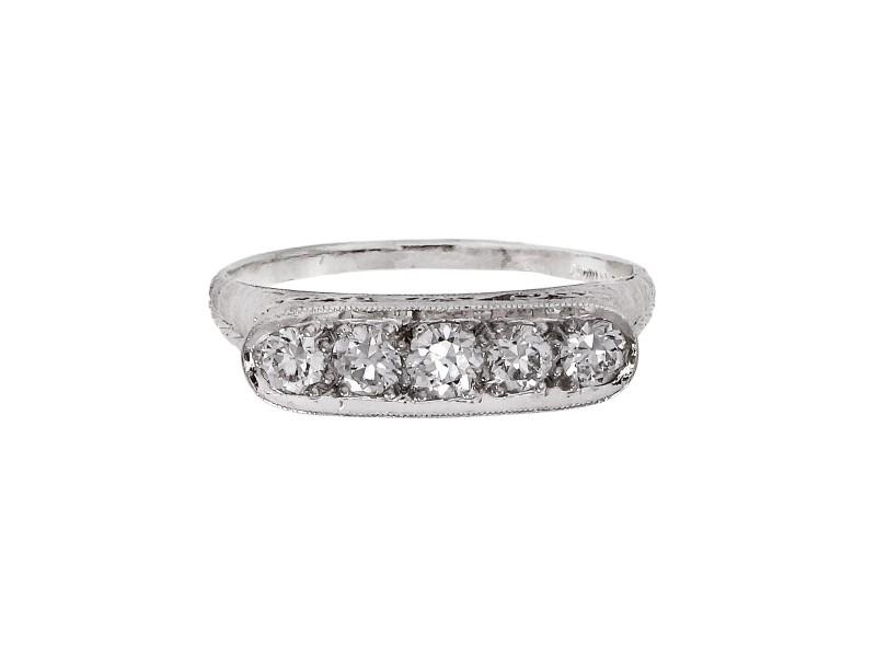 Antique European Cut Diamond Ring In Platinum