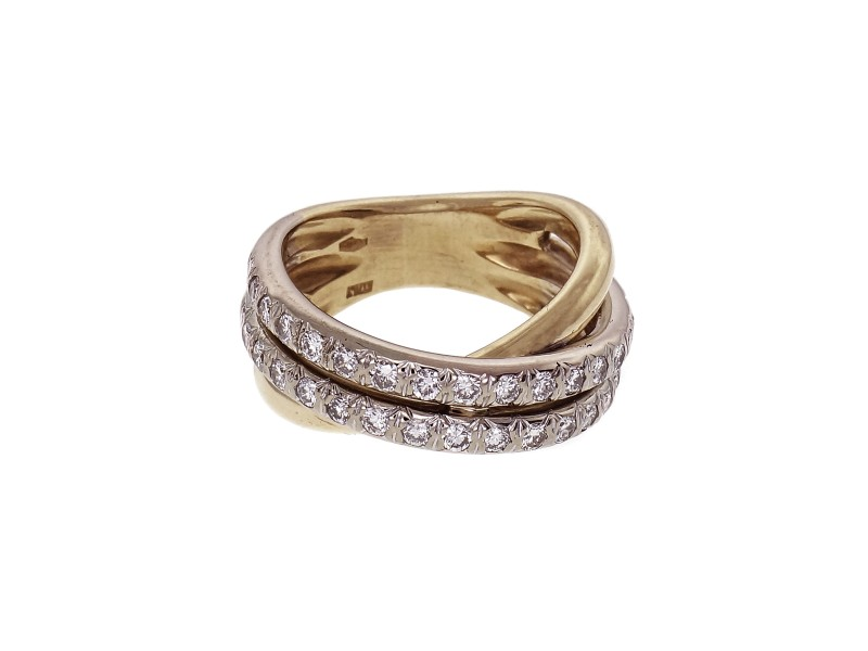 Estate Cross-Over Diamond Ring 18k Yellow Gold