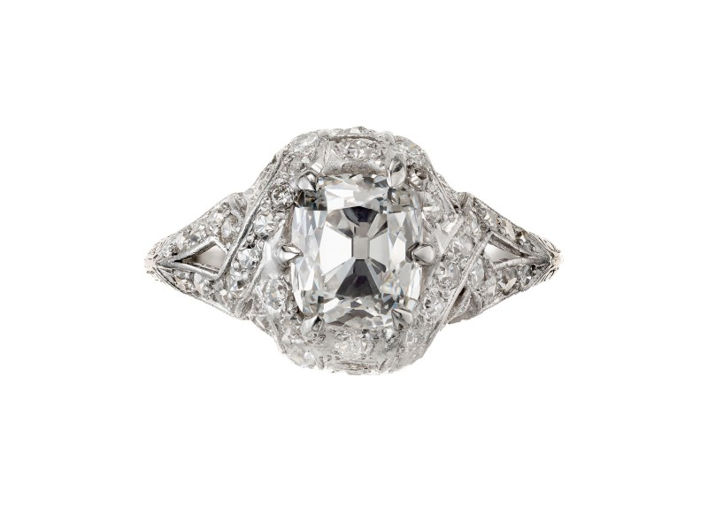 GIA Certified 1.55 Carat Diamond Platinum Engagement Ring