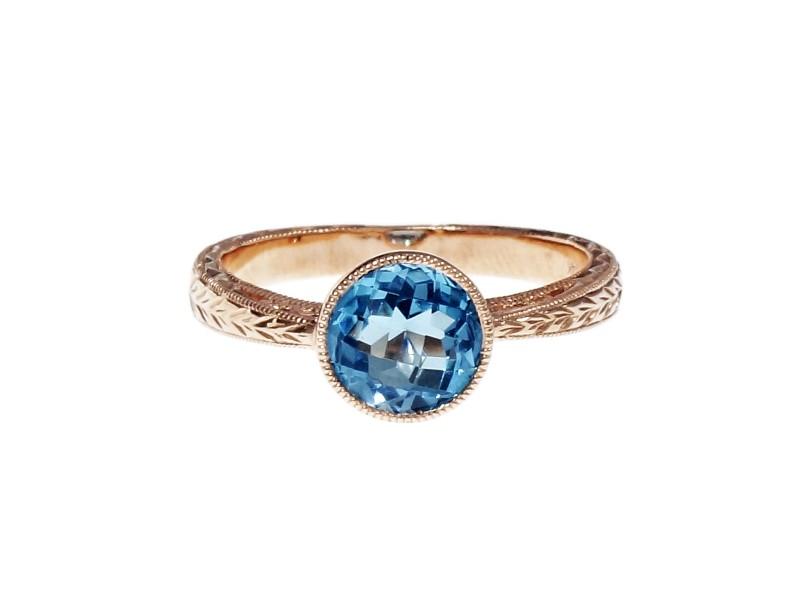 14K Pink Gold Blue Topaz Ring Size 6.75