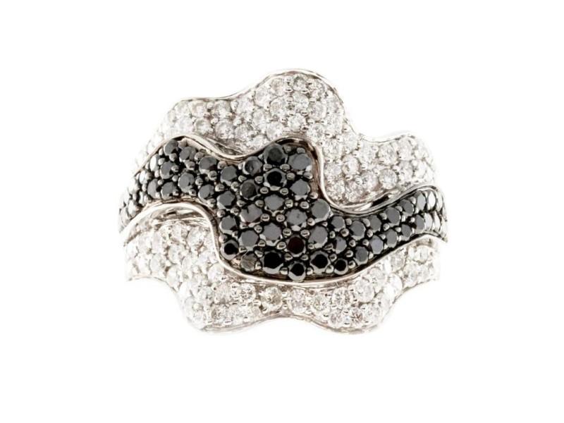 Sonia B Vintage 18K White Gold with 1.25ct White & 0.75ct Black Diamond Ribbon Ring Size 6