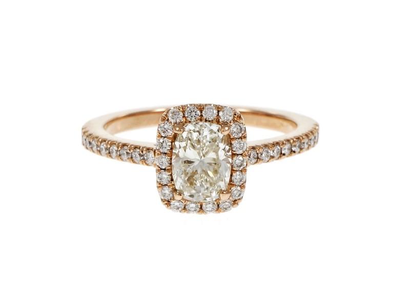 18K Rose Gold 0.90ct Cushion Cut Diamond Halo Ring Size 6.25