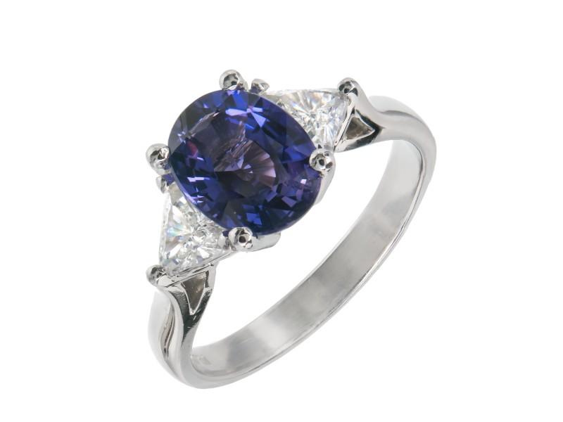 Platinum with Diamond and Purple Sapphire Ring Size 7.25