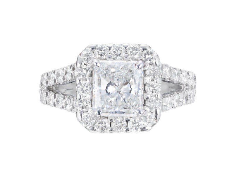 Peter Suchy GIA Certified 1.53 Carat Diamond Platinum Halo Engagement Ring