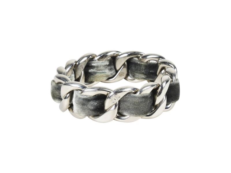 7cb1de20dbc Chanel Silver Tone Hardware   Gray Velvet Chain Link Bangle Bracelet ...