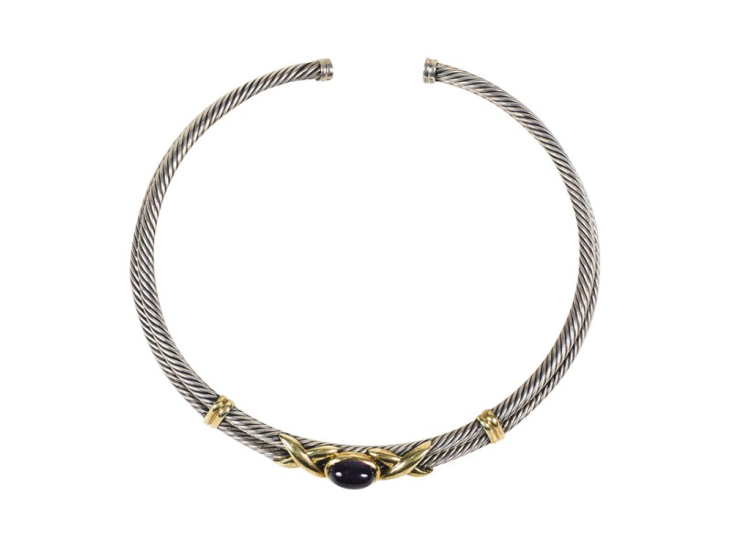 """David Yurman 14K Yellow Gold and Sterling Silver with Amethyst """"Cable Station Collar"""" Necklace"""