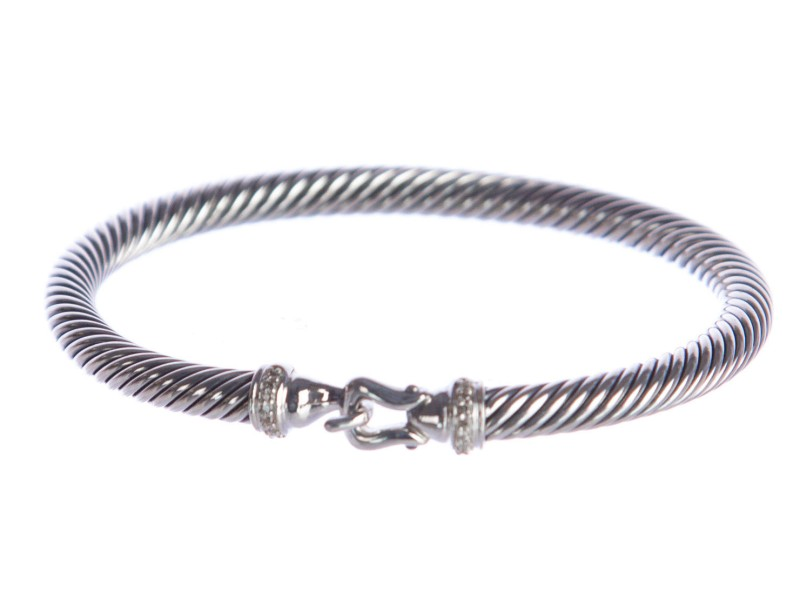 David Yurman 925 Sterling Silver with 0.06ct Diamond Cable Buckle Bracelet