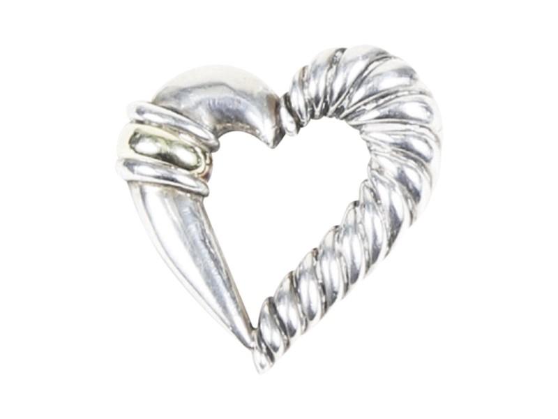 David Yurman Cable 925 Sterling Silver 14K Yellow Gold Heart Brooch