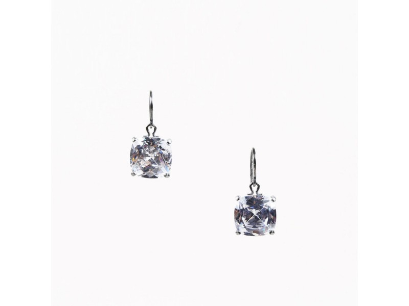 Bottega Veneta 925 Sterling Silver Cubic Zirconia Drop Earrings