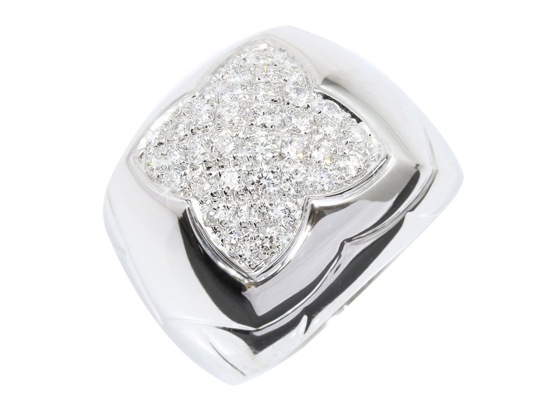 Bulgari 18K White Gold Diamond Ring Size 6