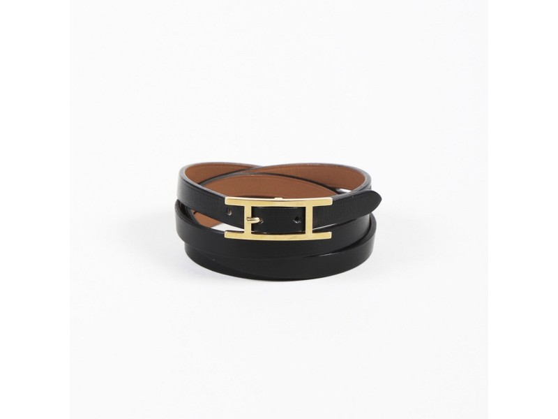 Hermes Black Swift Leather Bracelet
