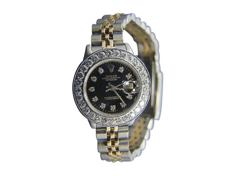 Rolex Datejust 18k Yellow Gold Stainless Steel 2 2ct Diamond 26mm Watch