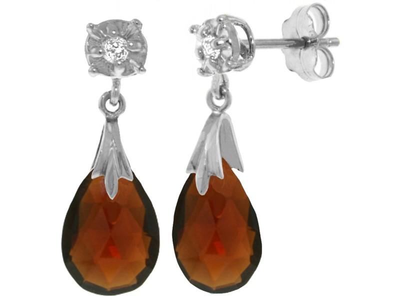 6.06 CTW 14K Solid White Gold Stud Earrings Diamond Garnet
