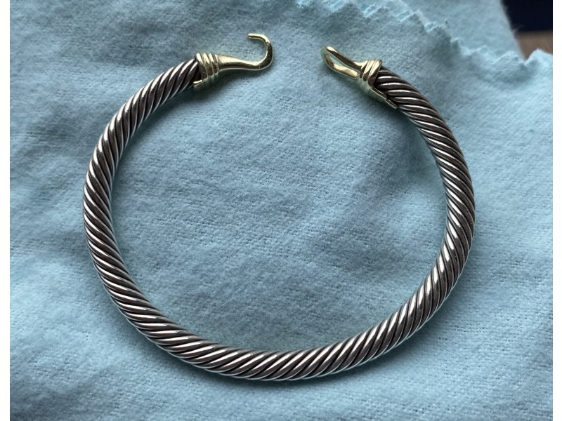 David Yurman Cable Classic Buckle Bracelet with 14K Gold, 5mm