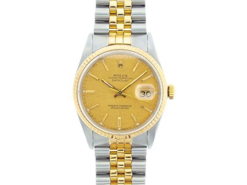 Rolex Datejust Two-Tone 18K Yellow Gold & Stainless Steel Watch 36mm