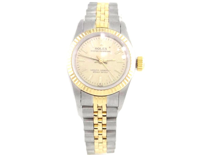 Rolex Oyster Perpetual 67193 18K Yellow Gold Stainless Steel 24mm Watch