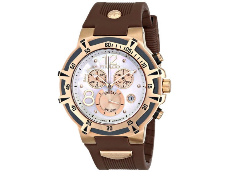 Mulco Bluemarine Gold Tone Brown Chronograph Stainless Steel Watch MW1-29903-031