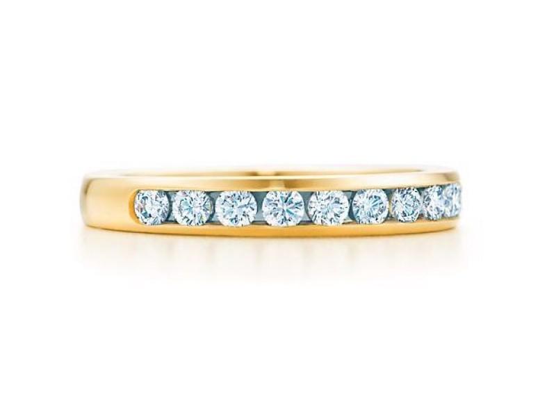 Tiffany & Co. 0.33Ct Diamond 18k Yellow Gold Wedding Band Size 6 Ring