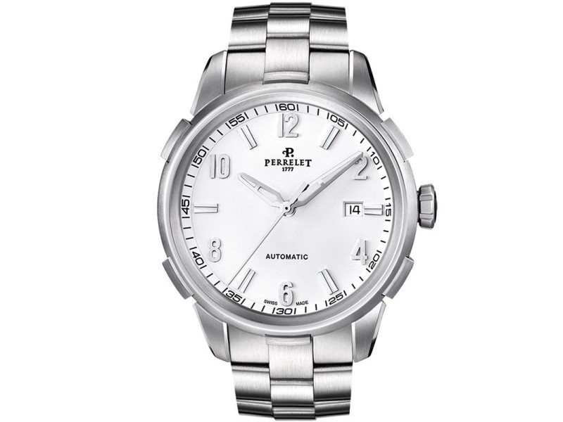 Perrelet Class-T A1068/A Stainless Steel Automatic White Dial 42mm Mens Watch