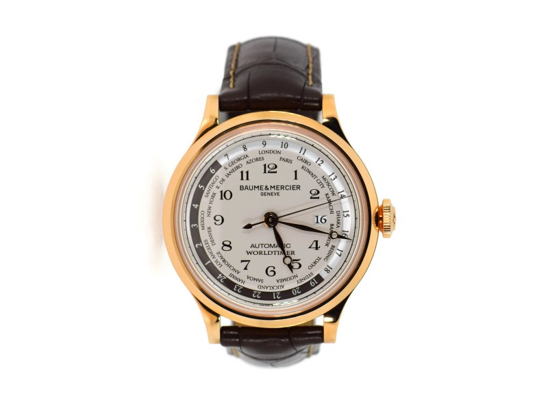 Baume & Mercier Capeland World Timer MOA10107 18K Rose Gold & Leather Automatic 44mm Mens Watch