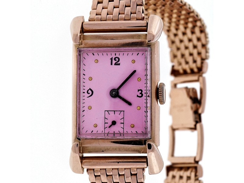 Art Deco His Excellency Academy Award 14k Pink Gold 21 Jewel 7AK Watch Ladies Men's