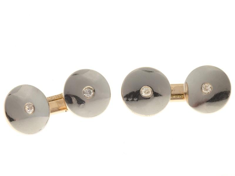 14k Rose Gold Platinum Old European Cut Diamond Double Sided Cuff Links
