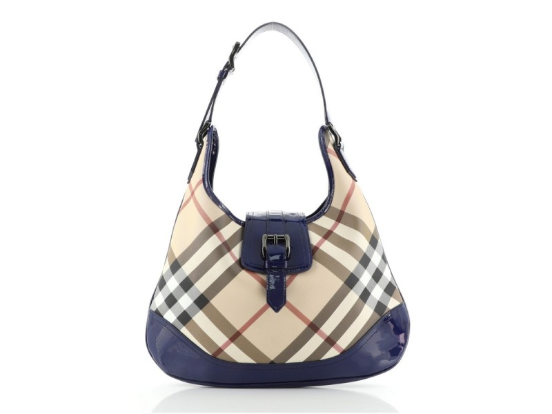 Burberry Brooke Hobo Nova Check Coated Canvas and Patent Large