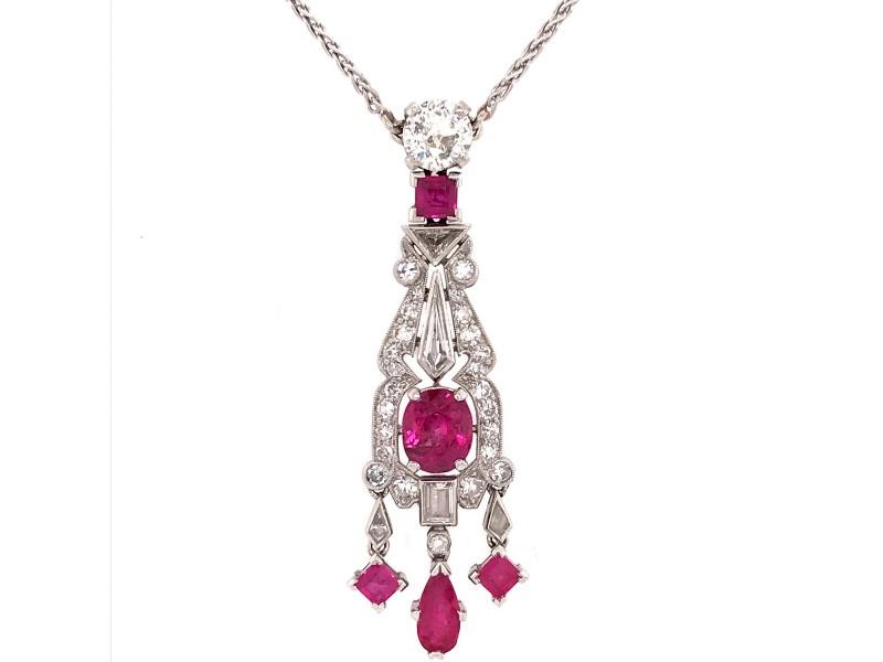 Estate Platinum Art Deco Ruby and Diamond Pendant Necklace