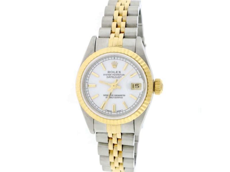 Rolex Datejust Ladies 2-Tone 18K Yellow Gold/Steel 26MM Original Silver Index Dial Jubilee Watch 179173