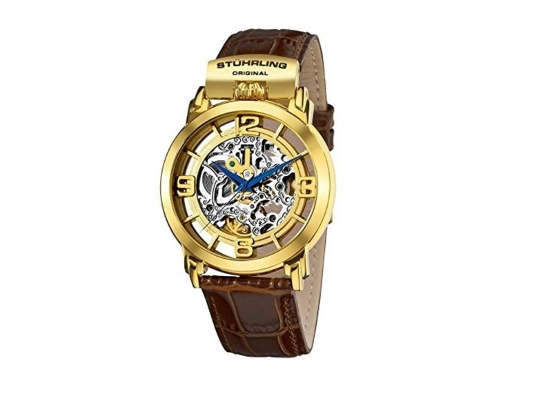 Stuhrling Winchester 165F.3335K31 Gold-Tone Stainless Steel & Leather 42mm Watch