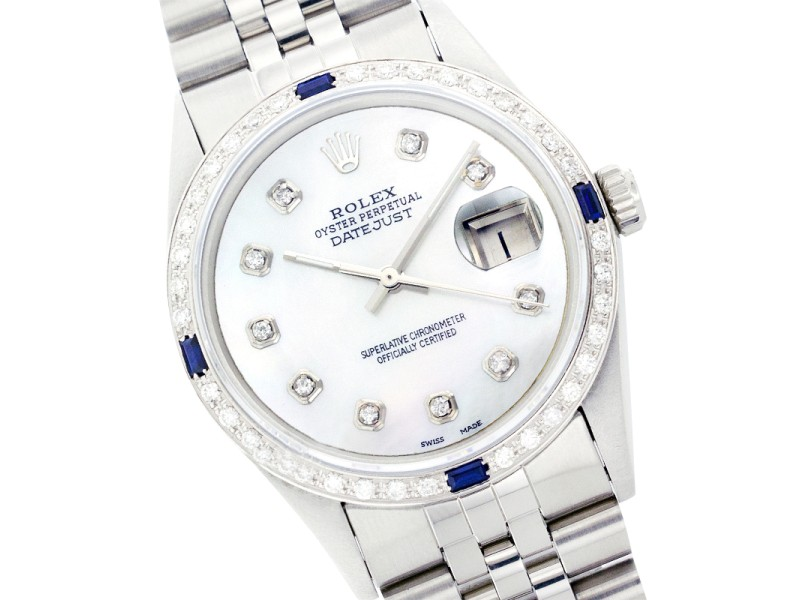 Rolex Datejust 1601 Stainless Steel Mother of Pearl Diamond Dial & Sapphire 36mm Mens Watch