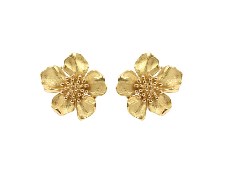 Vintage Tiffany & Co. 18K Yellow Gold Dogwood Flower Rose Earrings