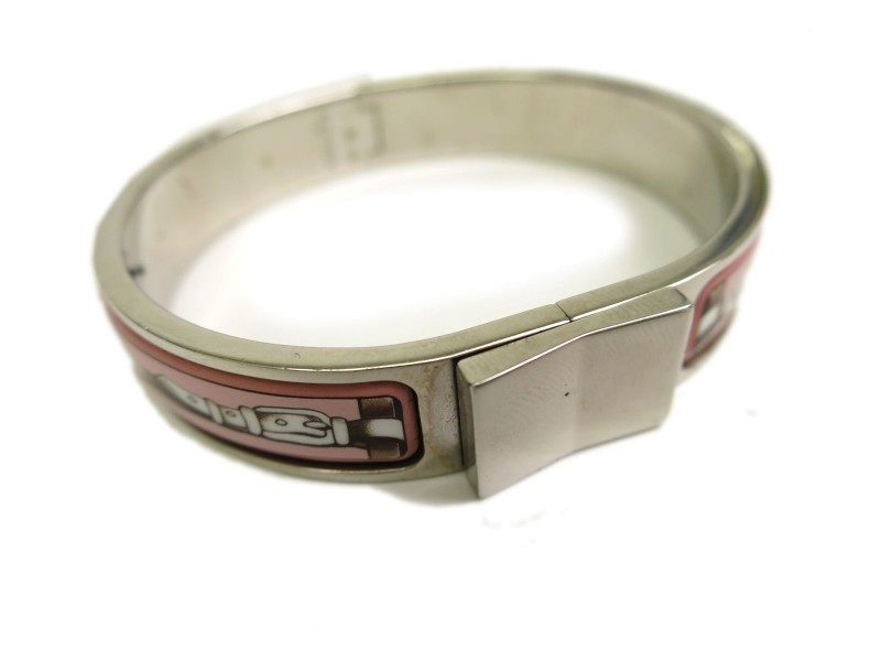 Hermes Cloisonne And Palladium Bangle Bracelet