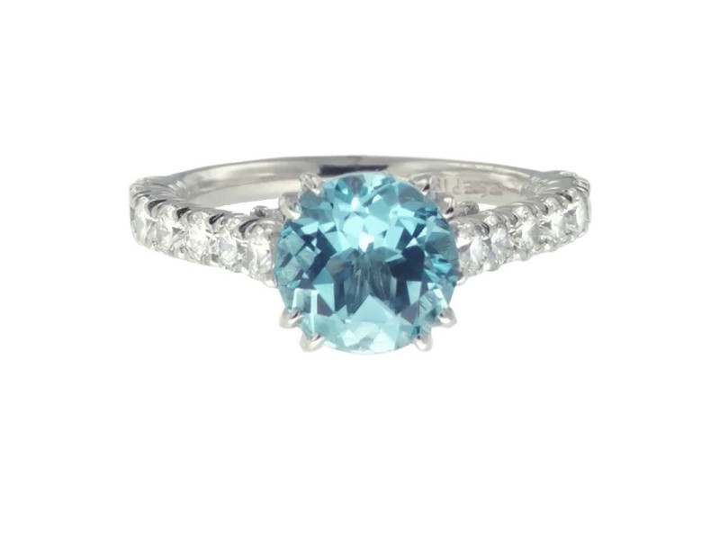 Jack Kelege Platinum Blue Topaz 1.18ctw Diamond Ring Size 6.25