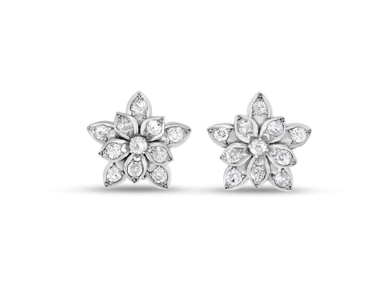 14k White Gold 2.20ct. Diamond Flower Earrings