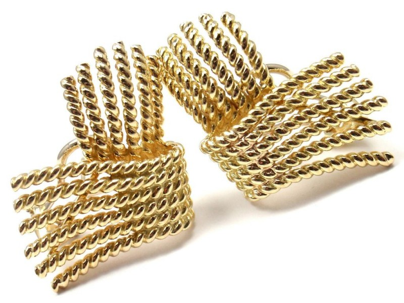 Tiffany & Co. Schlumberger 18K Yellow Gold Rope Earrings