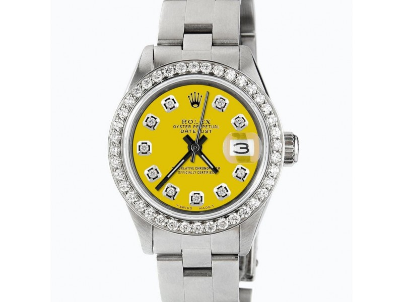 Rolex Datejust Ladies Automatic Stainless Steel 26mm Oyster Watch w/Lemon Yellow Diamond Dial & Bezel