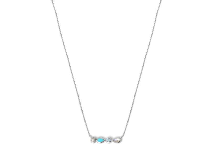 Anzie Sterling Silver Turquoise, Swiss Blue Topaz, White Topaz, Moonstone Necklace
