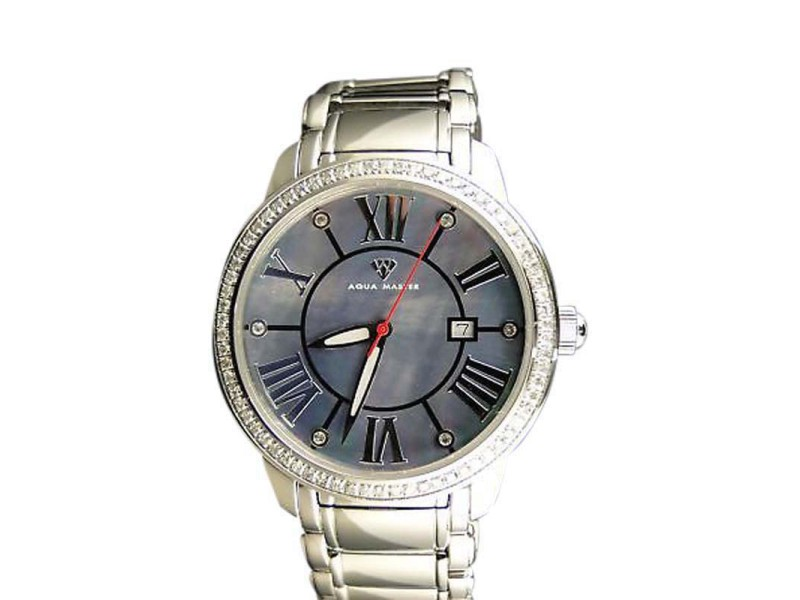 Aqua Master Swiss Mens Movement Blue Dial Diamond Watch