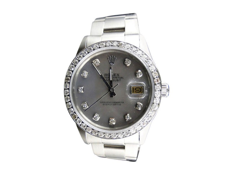 Rolex Datejust Silver Dial Genuine Diamond 2.15 Ct Mid 90'S Mens Watch