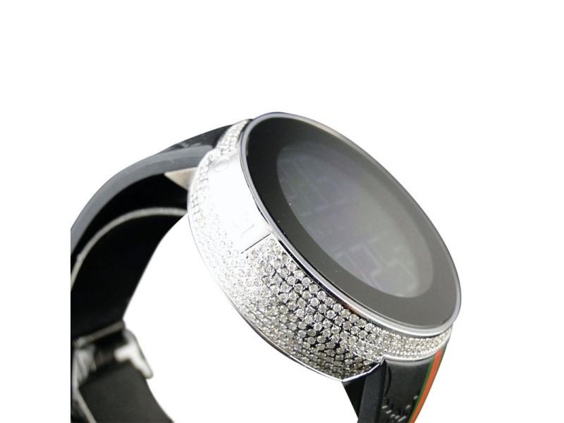 Gucci Digital Ya114207 White Diamond 4 Ct Black Full I Mens Watch
