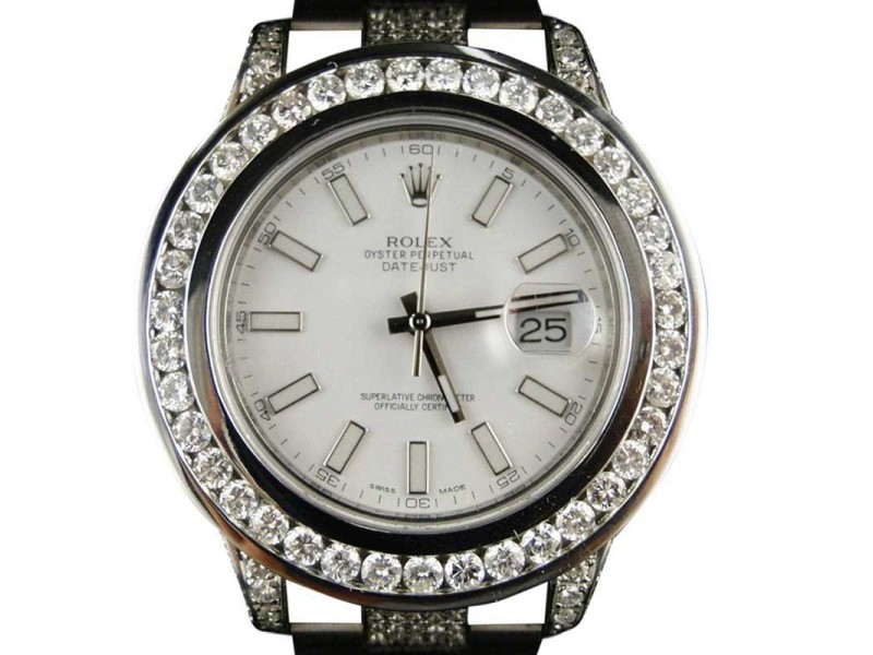Rolex Datejust 2 Ii White Dial Genuine Diamond 12ct. Mens Watch