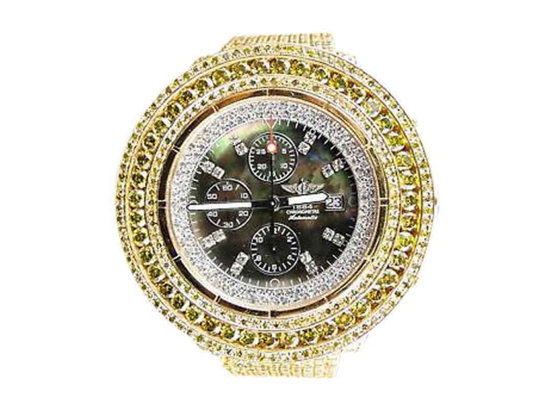 Breitling Mens Super Avenger Canary Diamond 50 Ct Watch