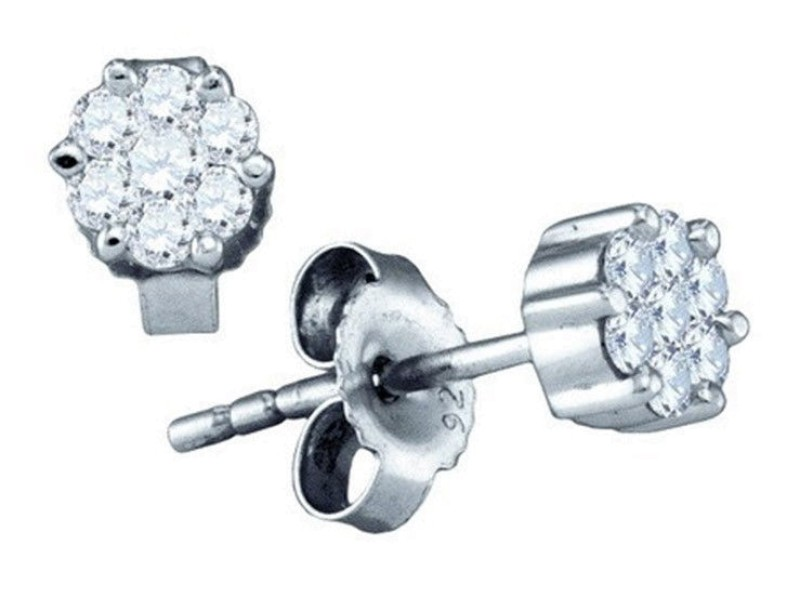 White Gold Finish Sterling Silver Round Diamond Cluster Studs Earrings